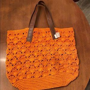 Chico's Scallop Crochet Straw Tote NWT